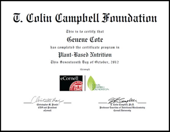 Genene Cote: Plant-Based Nutrition Certificate! » Down To Earth Fare